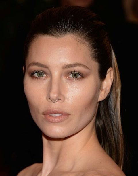 Jessica Biel wearing a very modest and stylish nose captive ring for a touch of wild in her look