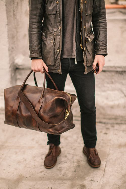 a simple brown leather bag that matches the shoes is a stylish idea, such a bag will fit most of your looks