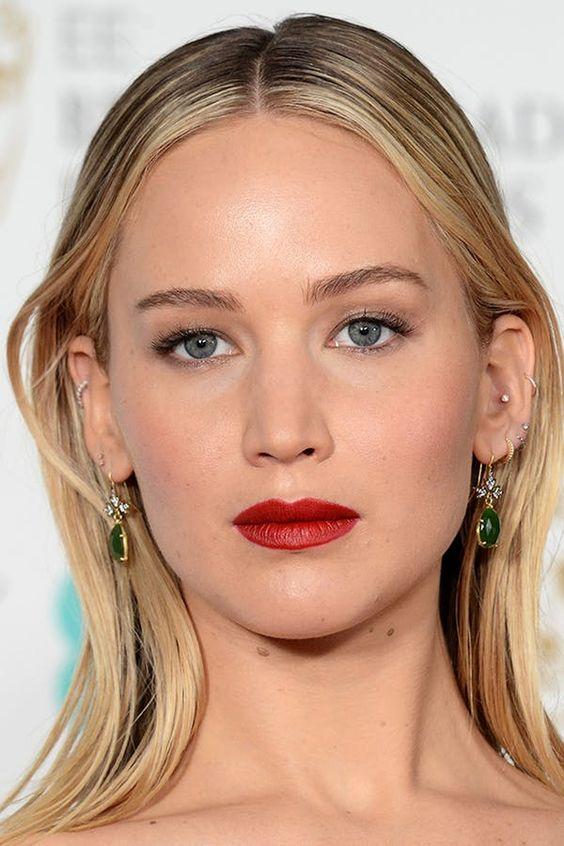 Jennifer Lawrence rocking lots of ear piercings looks super hot and rebellious