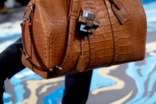 08 a brown crocodile leather bag with a long handle is a stylish idea to carry some stuff you may need