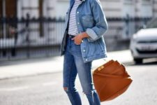 09 a striped tee, blue ripped skinnies, an oversized denim jacket, grey slipons and a camel bag