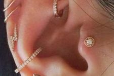 09 a super shiny ear with a helix, daith and tragus piercings done with hoops and studs