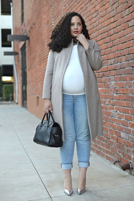 a white top, blue jeans, silver shoes, a grye coat and a black bag for a chic fall work outfit