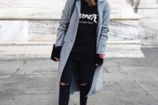09 black ripped jeans, a black hoodie, black Vans sneakers and a grey coat for a cool look