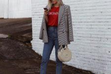 10 a red printed tee, blue jeans, white V cut slingbacks, a tweed blazer and a wicker bag