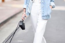 10 a white shirt, white cropped pants, a bleached denim jacket, silver shoes and a small black bag