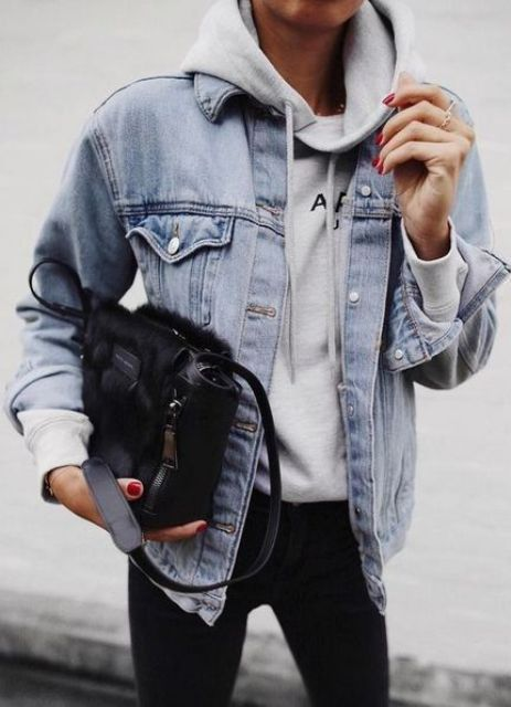 black skinnies, a grey hoodie and a blue denim jacket are timeless classics that will never go out of style