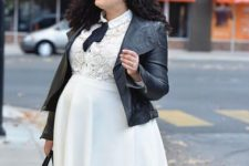 11 a beautiful white dress with a lace bodice, a plain skirt, a black bow, a black leather jacket and a black tote