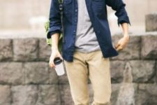 11 a grey tee, a navy shirt, camel pants and white sneakers for a casual weekend or everyday look