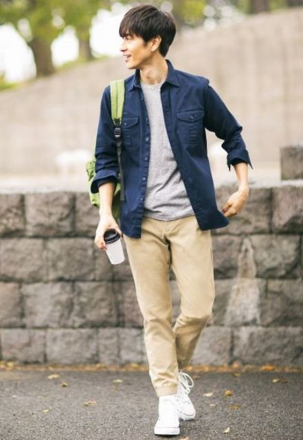 a grey tee, a navy shirt, camel pants and white sneakers for a casual weekend or everyday look