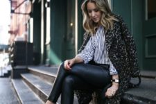 12 black leather leggings, a striped shirt, a leopard print coat and black heeled loafers