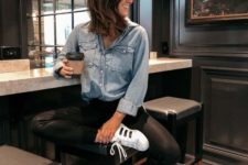 13 a bleached chambray shirt, black leather pants, white sneakers for a relaxed weekend look