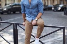 13 a simple casual look with camel pants, a blue chambray shirt, white sneakers is great for weekends