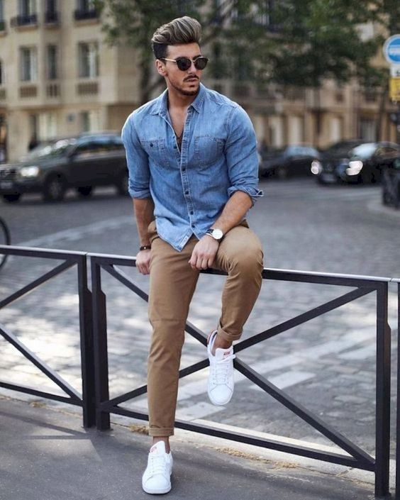 a simple casual look with camel pants, a blue chambray shirt, white sneakers is great for weekends