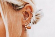 13 multiple ear piercings including helix, conch and helix – studs and hoops are perfectly matched