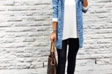14 a white long top, a blue chambray shirt, black leggings, camel loafers and a comfortable bag
