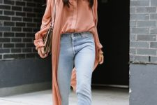 15 a coral shirt and a duster, blue jeans, snake print boots and a small neutral bag
