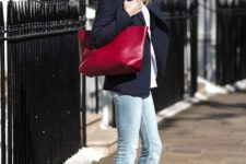 15 a white shirt, a black blazer, bleached jeans, a burgundy tote and matching heeled loafers