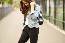 15 a white tee, black sport pants, a blue denim jacket and white sneakers to wear for casual weekends