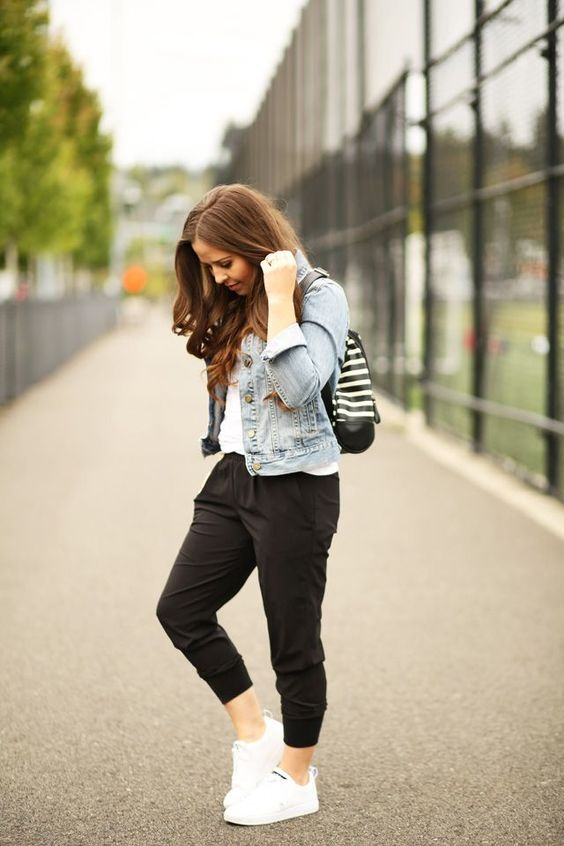 a white tee, black sport pants, a blue denim jacket and white sneakers to wear for casual weekends