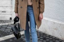 16 a camel turtleneck, a camel oversized caot, blue skinnies and snake print booties plus a black bag