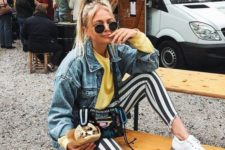 16 a yellow sweatshirt, high waisted striped pants, a blue denim jacket, white sneakers for a 90s inspired outfit