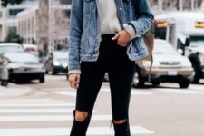 16 nude heels, a grey cropped sweater, black ripped jeans, a blue denim jacket and a neutral bag