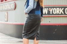 With black leather pencil skirt and brown suede ankle boots