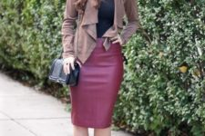 With black shirt, waterfall cardigan, chain strap bag and black pumps
