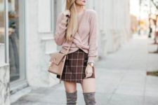 With checked wrapped skirt, beige bag and gray over the knee boots