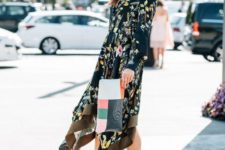 With floral midi dress and geometric printed clutch
