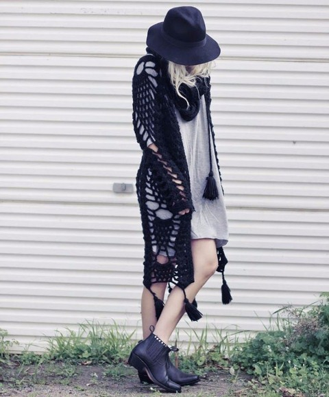 With gray dress, black hat and black ankle boots