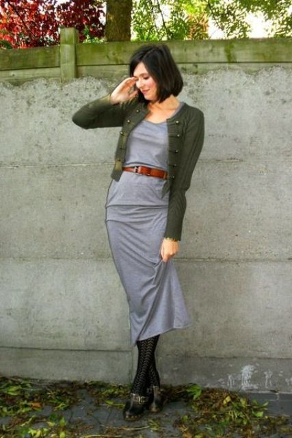 With gray midi dress, olive green cardigan, black tights and black shoes