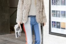 With gray shirt, red pumps and fur jacket