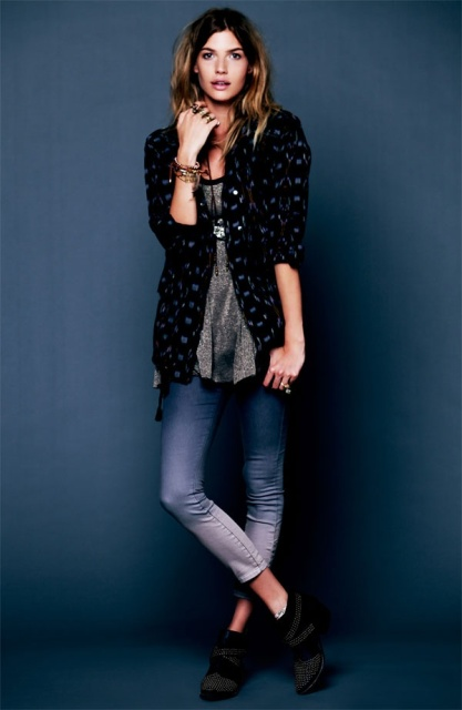With long shirt, printed cardigan and ankle boots