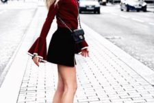 With marsala blouse, black mini skirt and mini bag