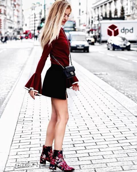 With marsala blouse, black mini skirt and mini bag