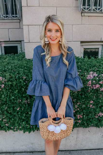 With navy blue loose mini dress