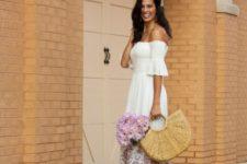 With off the shoulder midi dress and platform sandals