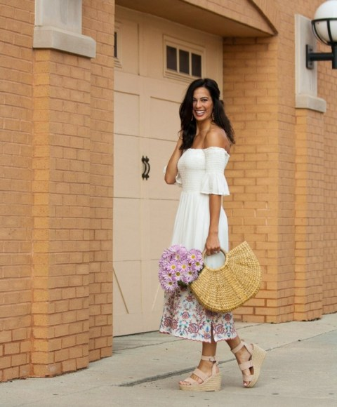 With off the shoulder midi dress and platform sandals