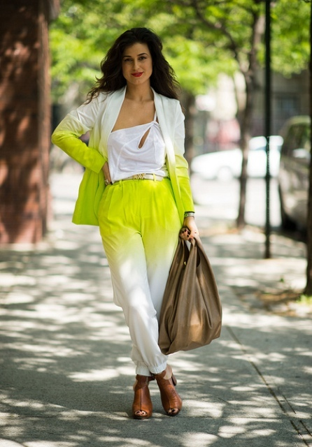 With one shoulder top, ombre blazer, tote bag and brown sandals