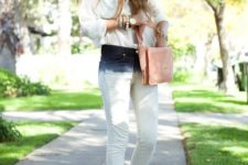 With pale pink bag, white shirt and beige and yellow shoes