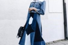With patchwork midi skirt, white low heeled shoes and black bag