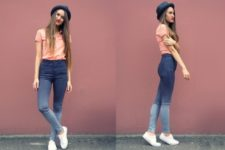 With peach shirt, hat and white sneakers