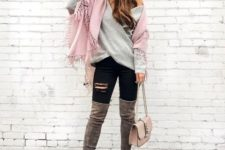 With pink scarf, black distressed pants, gray over the knee boots and pale pink bag