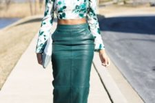 With printed long sleeved crop shirt, clutch and white shoes