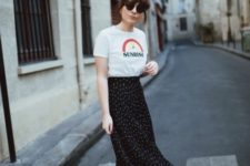 With printed t-shirt and polka dot midi skirt
