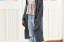 With ruffled top, cuffed jeans and white flats