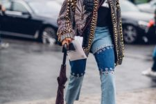 With shirt, white high heels, embellished cardigan and crossbody bag