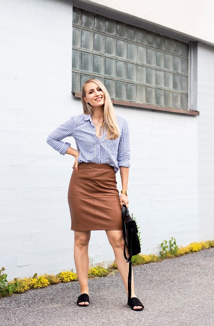 With striped button down shirt, black bag and brown pencil skirt